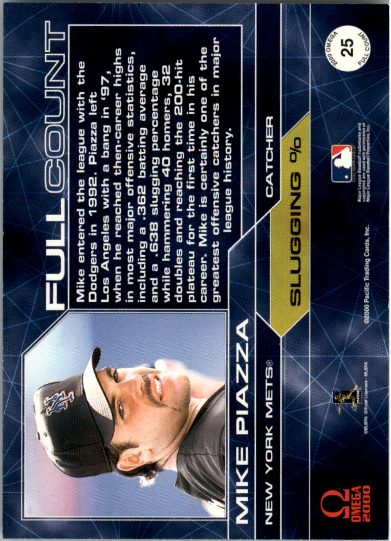 2000 Pacific Omega Full Count #25 Mike Piazza back image
