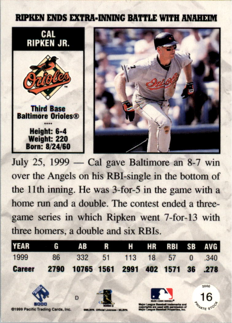 2000 Private Stock #16 Cal Ripken back image