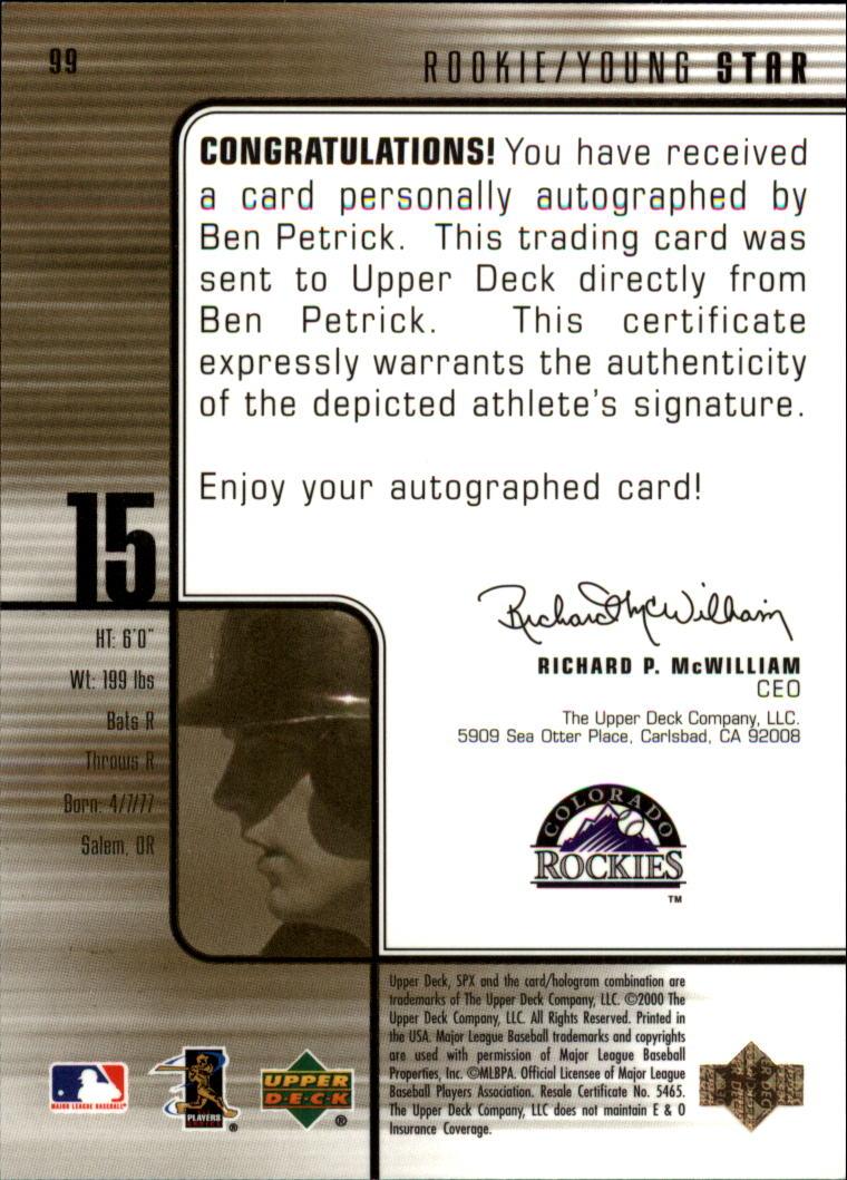 2000 SPx #99 Ben Petrick AU/1500 back image