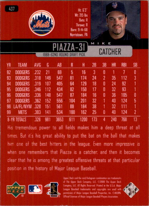 2000 Upper Deck Exclusives Silver #437 Mike Piazza back image