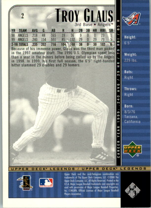 2000 Upper Deck Legends #2 Troy Glaus back image