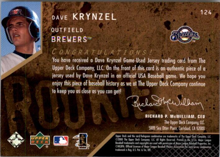2000 Black Diamond Rookie Edition #124 Dave Krynzel JSY RC back image