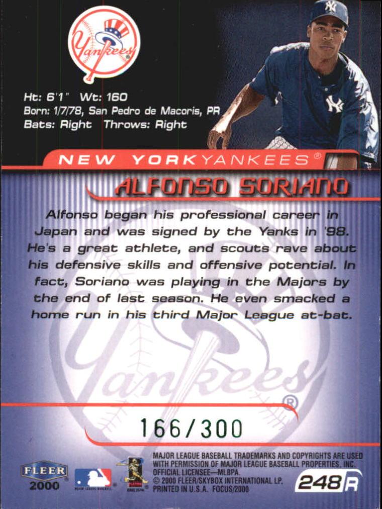 2000 Fleer Focus Masterpiece Mania #248 Alfonso Soriano back image