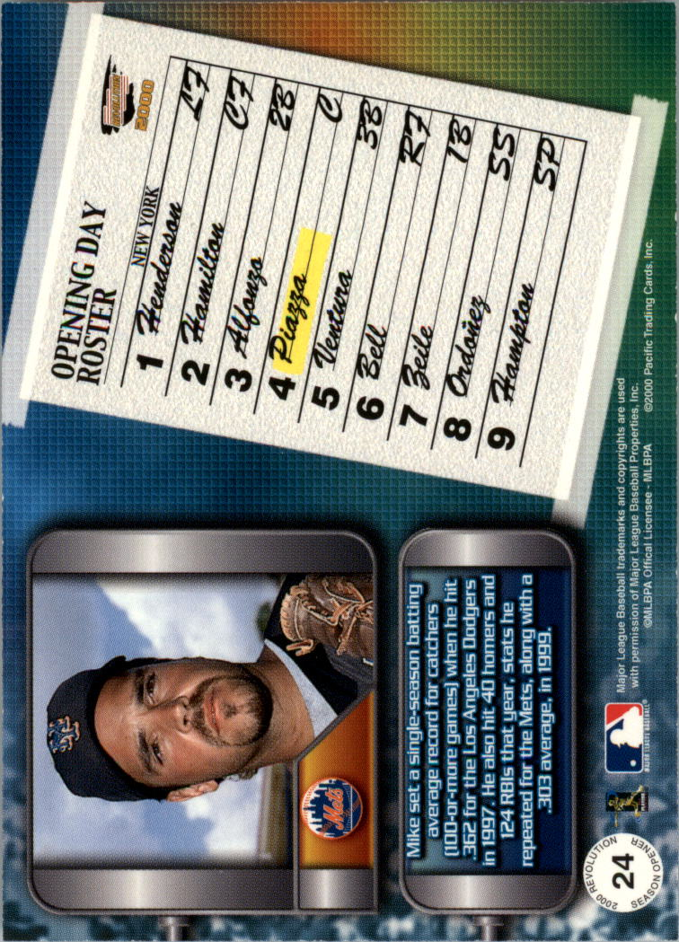 2000 Revolution Season Opener #24 Mike Piazza back image