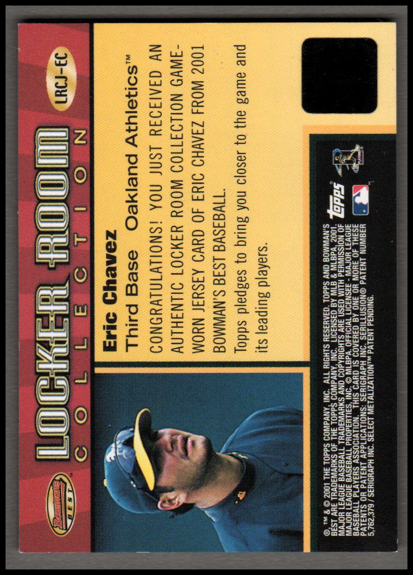 2001 Bowman's Best Locker Room Collection Jerseys #LRCJEC Eric Chavez back image