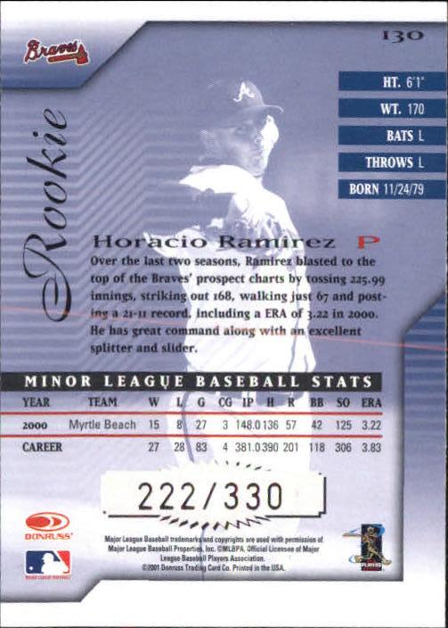 2001 Donruss Signature #130 Horacio Ramirez AU RC back image