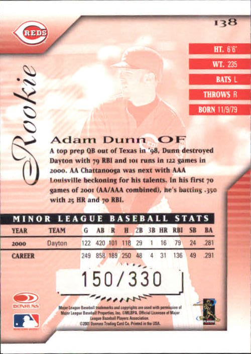 2001 Donruss Signature #138 Adam Dunn AU back image