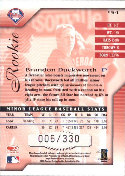 2001 Donruss Signature #154 Brandon Duckworth AU RC back image