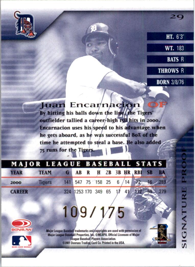 2001 Donruss Signature Proofs #29 Juan Encarnacion back image