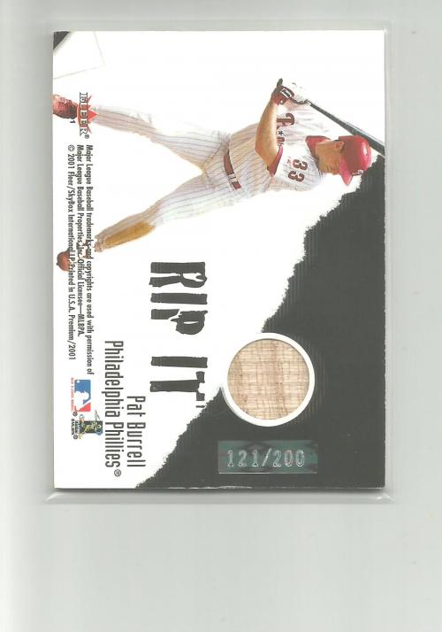 2001 Fleer Premium Grip It and Rip It Plus #2 S.Rolen/P.Burrell/200 back image