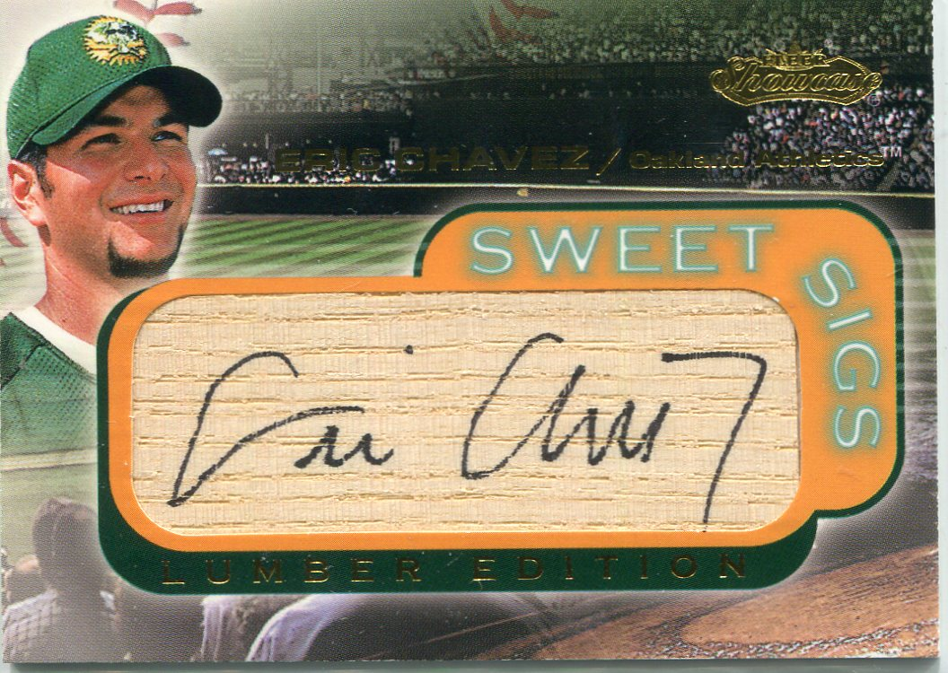 2001 Fleer Showcase Sweet Sigs Lumber #6 Eric Chavez