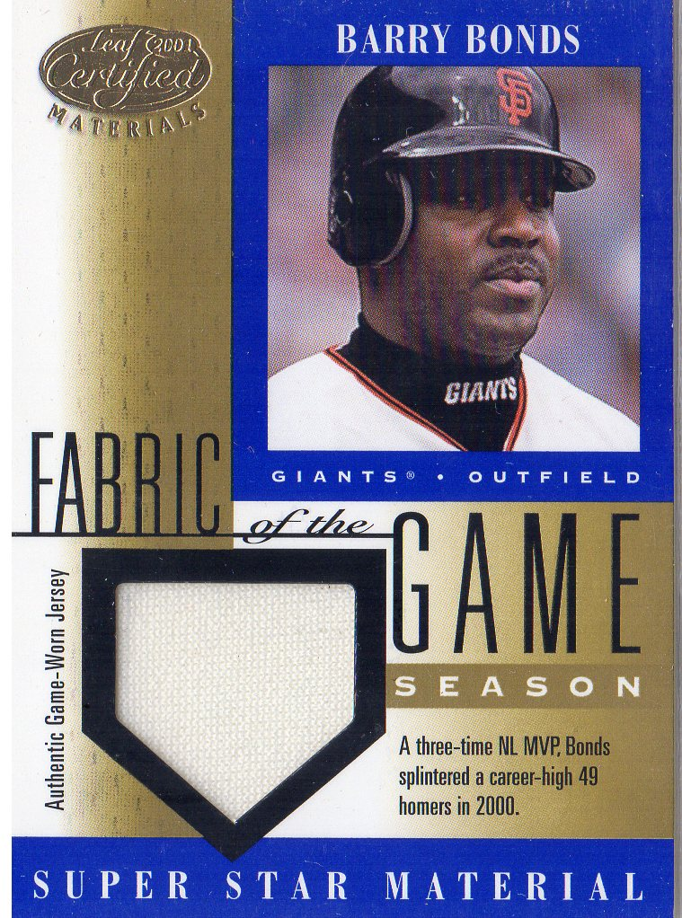 2001 Leaf Certified Materials Fabric of the Game #44SN Barry Bonds/49