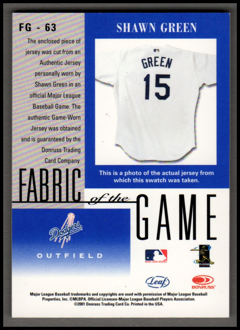 2001 Leaf Certified Materials Fabric of the Game #63BA Shawn Green back image