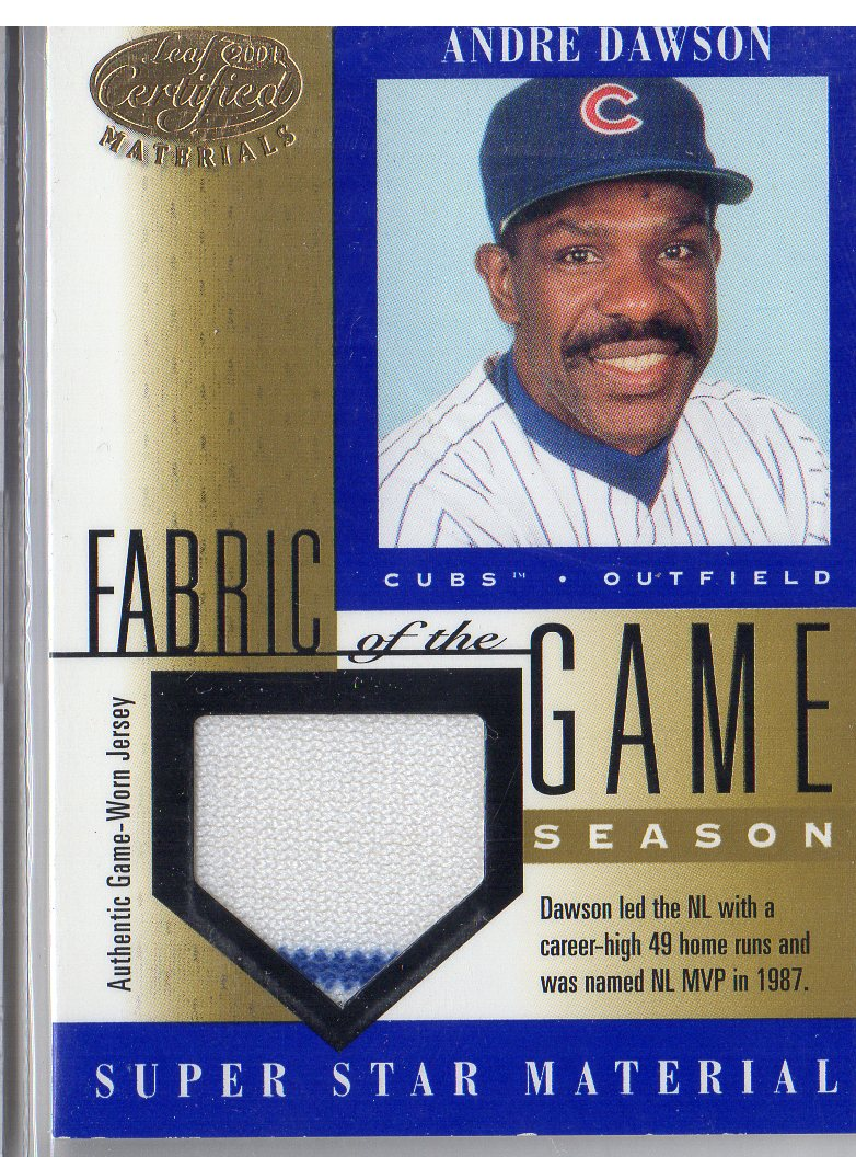 2001 Leaf Certified Materials Fabric of the Game #68SN Andre Dawson/49