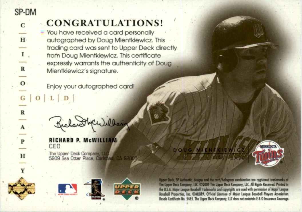 2001 SP Authentic Chirography Update Gold #SPDM Doug Mientkiewicz back image
