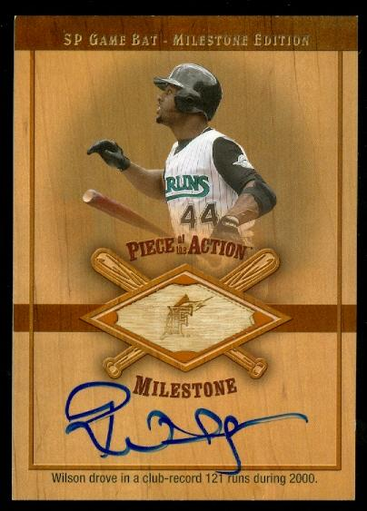 2001 SP Game Bat Milestone Piece of Action Autographs #SPW Preston Wilson