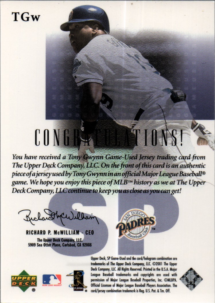 2001 SP Game Used Edition Authentic Fabric #TGW Tony Gwynn DP back image