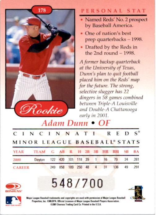 2001 Studio #178 Adam Dunn ROO back image