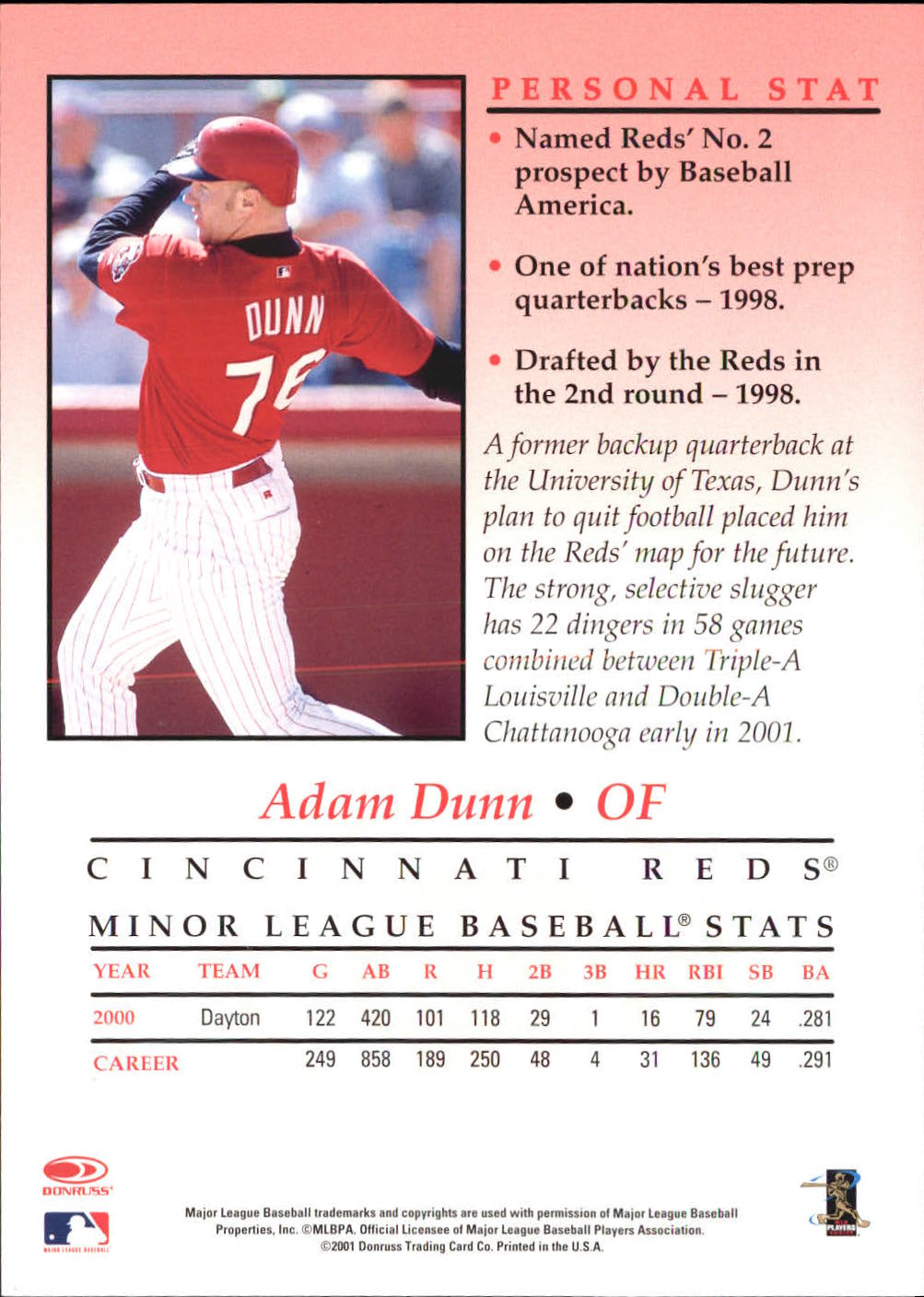 2001 Studio Private Signings 5 x 7 #10 Adam Dunn back image