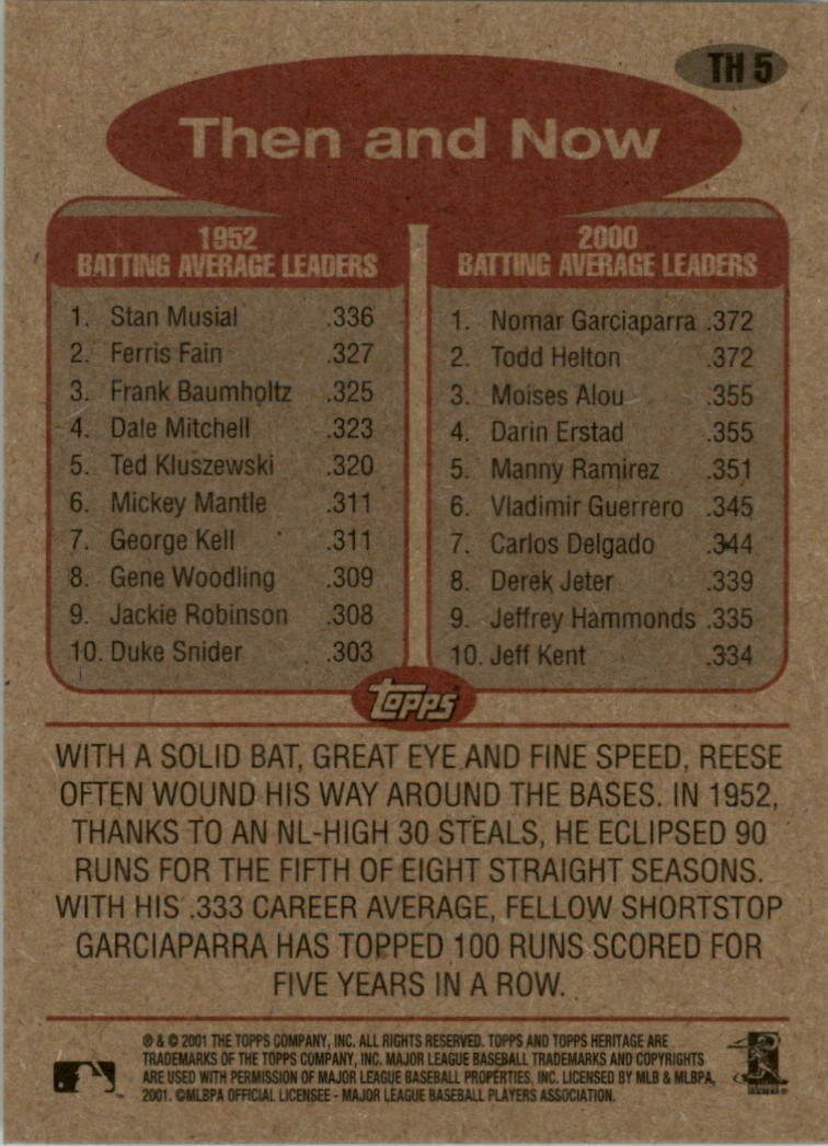 2001 Topps Heritage Then and Now #TH5 P.Reese/N.Garciaparra back image