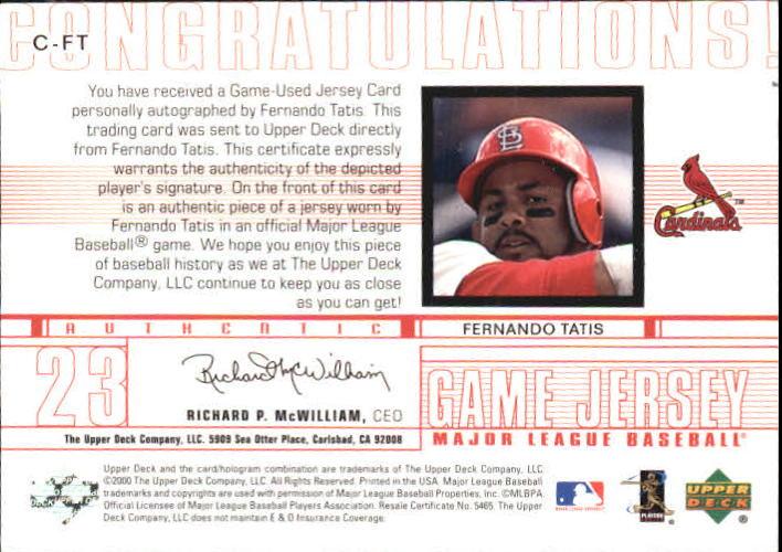 2001 Upper Deck Game Jersey Autograph Numbered #CFT Fernando Tatis/23 back image