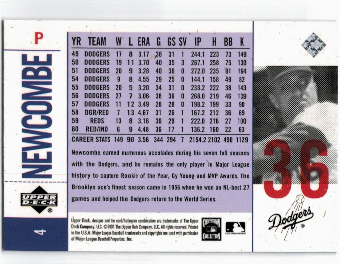 2001 Upper Deck Legends of NY #4 Don Newcombe back image