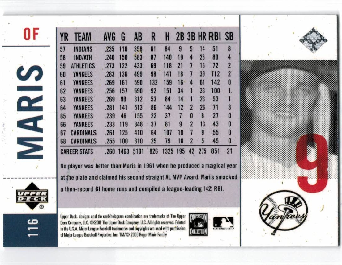 2001 Upper Deck Legends of NY #116 Roger Maris back image