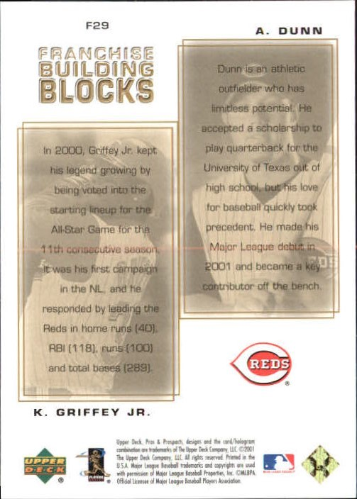 2001 Upper Deck Pros and Prospects Franchise Building Blocks #F29 K.Griffey Jr./A.Dunn back image