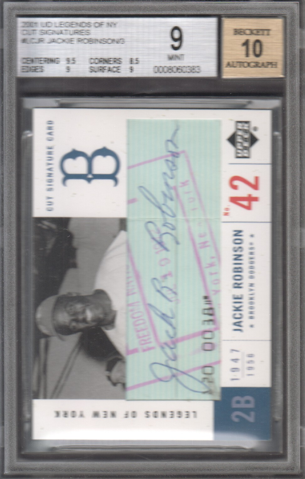 2001 Upper Deck Legends of NY Cut Signatures #LCJR Jackie Robinson/3