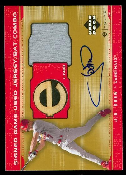2001 Upper Deck Evolution e-Card Game Bat-Jersey Autograph #JBJD J.D. Drew
