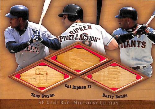 2001 SP Game Bat Milestone Piece of Action Trios #GRB Tony Gwynn/Cal Ripken/Barry Bonds