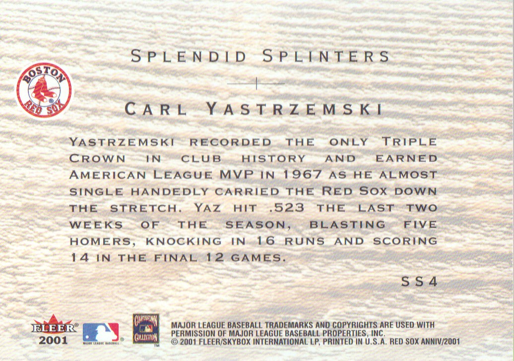 2001 Fleer Red Sox 100th Splendid Splinters #SS4 Carl Yastrzemski back image