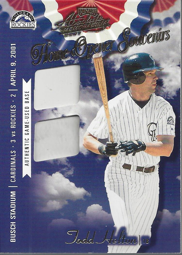 2001 Absolute Memorabilia Home Opener Souvenirs Double #OD20 Todd Helton