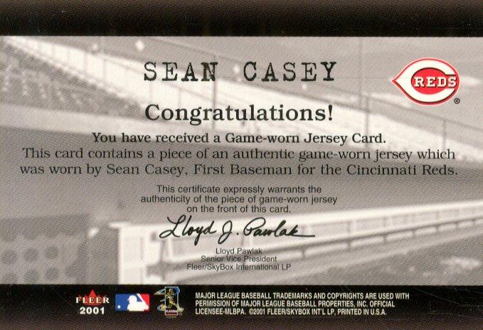 2001 Fleer Genuine Final Cut #4 Sean Casey back image