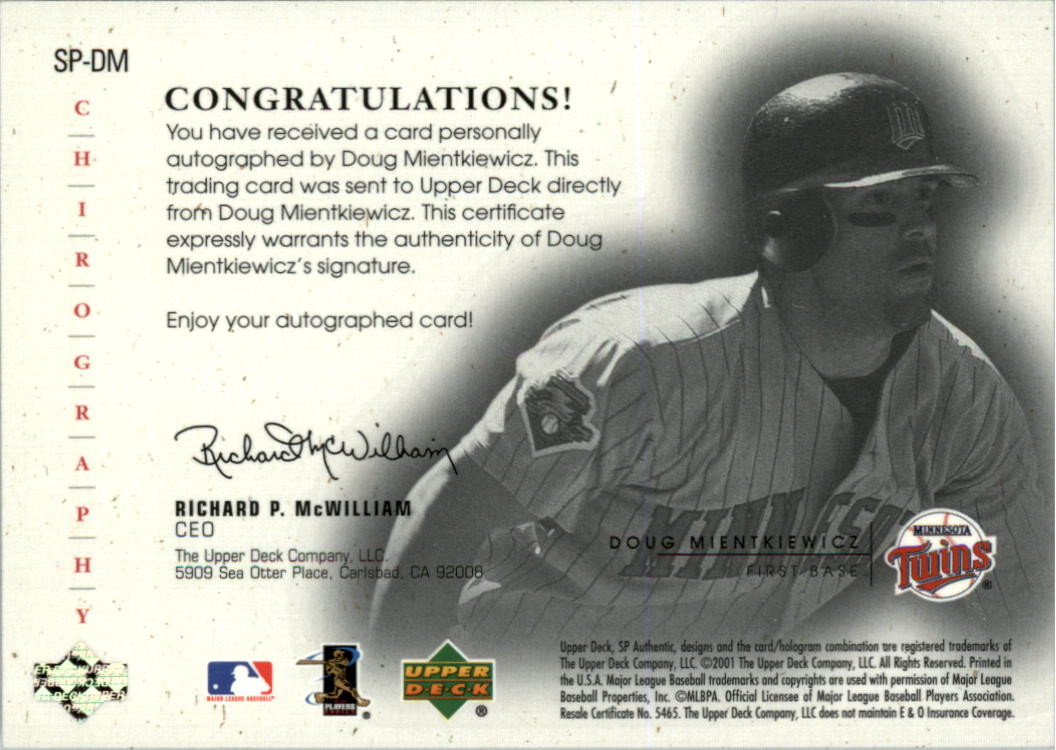 2001 SP Authentic Chirography Update Silver #SPDM Doug Mientkiewicz back image