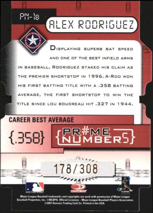 2001 Donruss Elite Prime Numbers Die Cuts #PN1B Alex Rodriguez/308 back image
