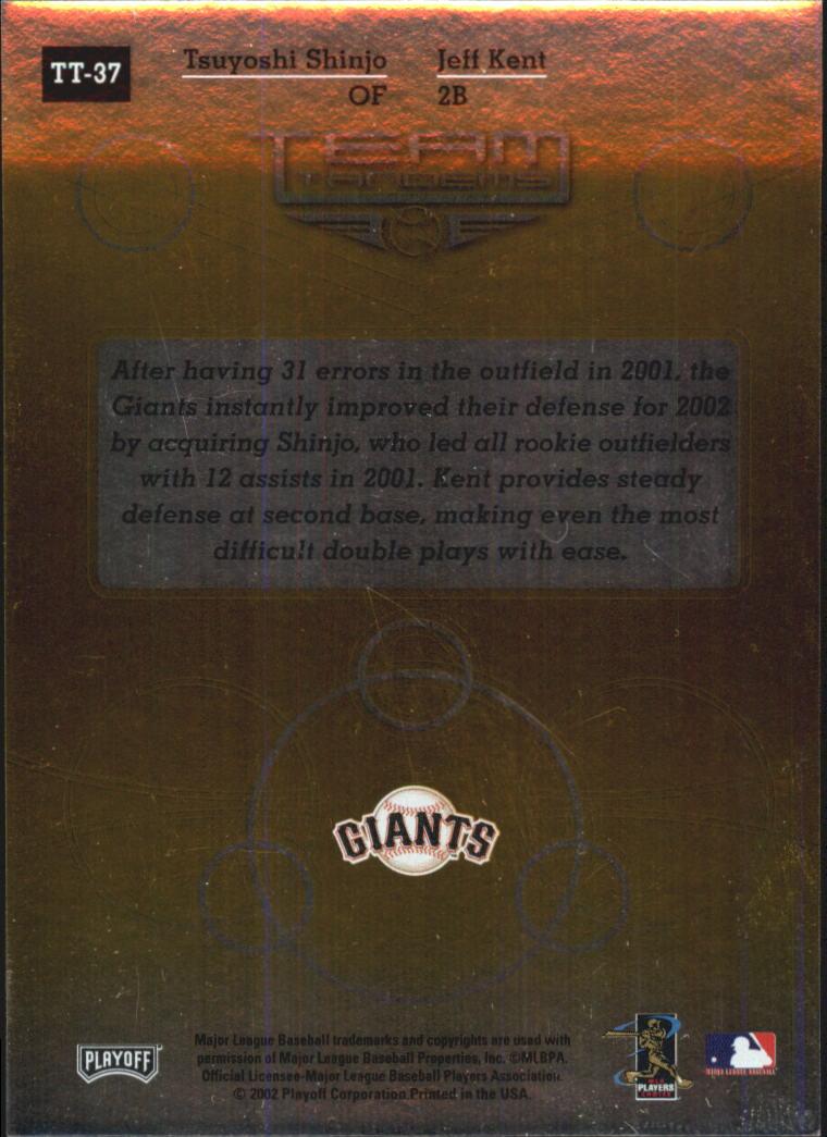2002 Absolute Memorabilia Team Tandems Gold #TT37 J.Kent/T.Shinjo back image