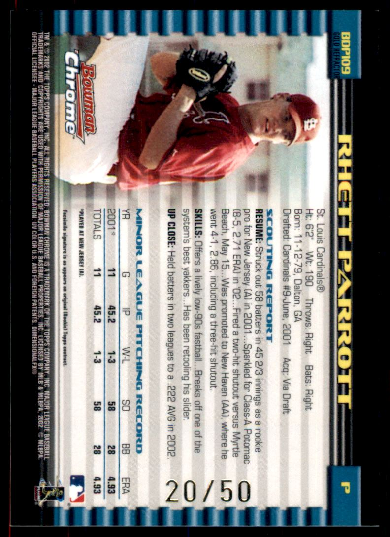 2002 Bowman Chrome Draft Gold Refractors #109 Rhett Parrott back image