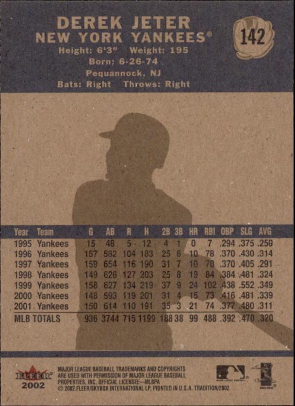 2002 Fleer Tradition #142 Derek Jeter back image