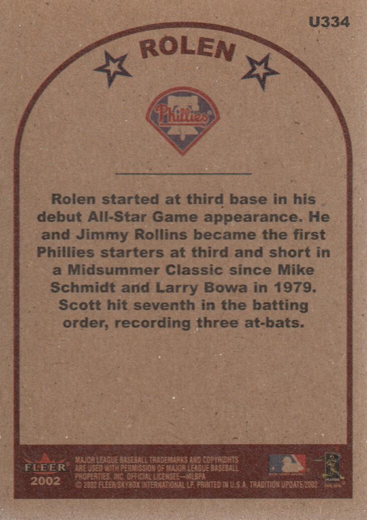 2002 Fleer Tradition Update #U334 Scott Rolen AS back image