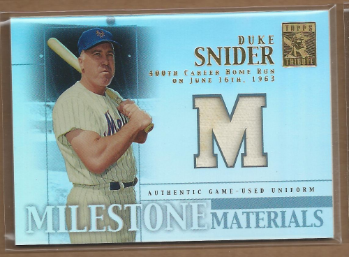 2002 Topps Tribute Milestone Materials #DS Duke Snider Uni