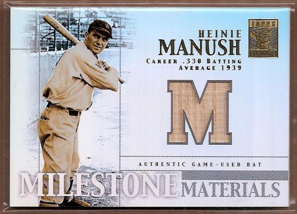 2002 Topps Tribute Milestone Materials #HM Heinie Manush Bat