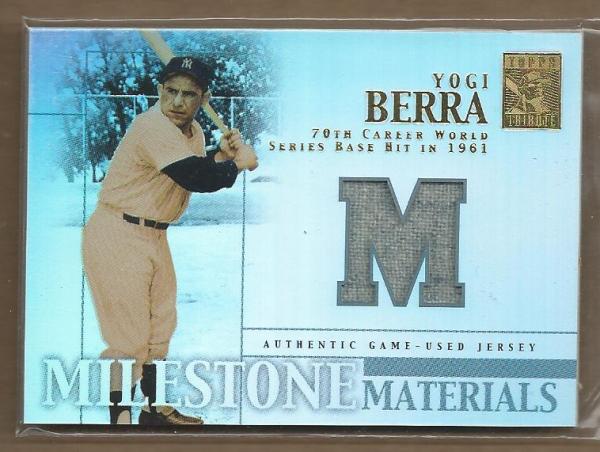 2002 Topps Tribute Milestone Materials #YB Yogi Berra Jsy