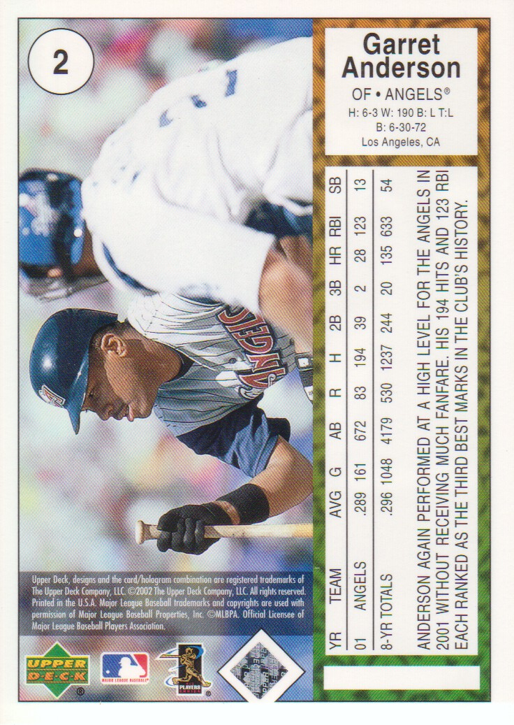 2002 UD Authentics #2 Garret Anderson back image