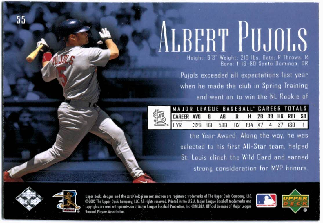 2002 UD Piece of History #55 Albert Pujols back image