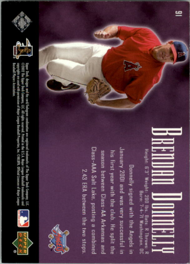 2002 UD Piece of History #91A Brendan Donnelly 21CP RC back image