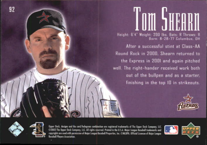2002 UD Piece of History #92A Tom Shearn 21CP RC back image