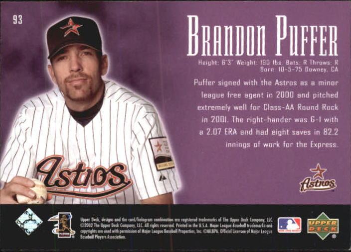 2002 UD Piece of History #93A Brandon Puffer 21CP RC back image