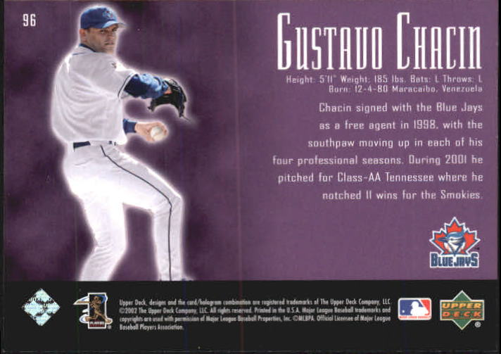 2002 UD Piece of History #96A Gustavo Chacin 21CP RC back image