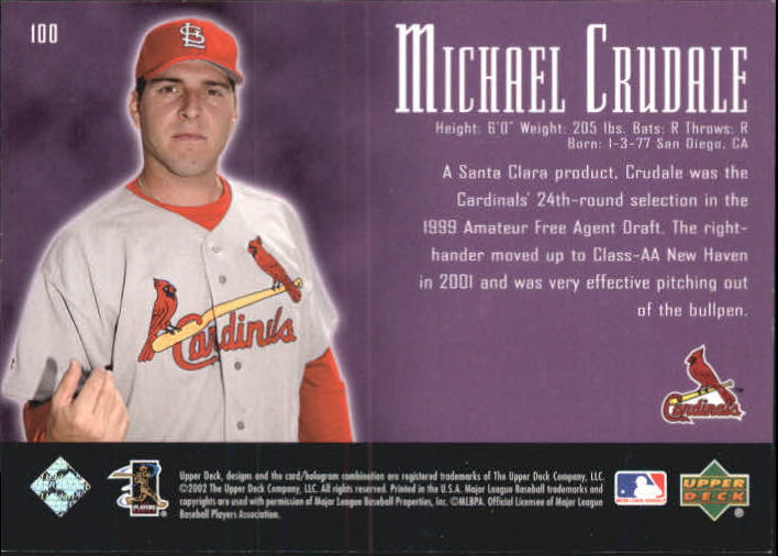 2002 UD Piece of History #100A Michael Crudale 21CP RC back image
